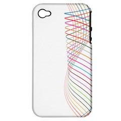 Line Wave Rainbow Apple Iphone 4/4s Hardshell Case (pc+silicone) by Mariart