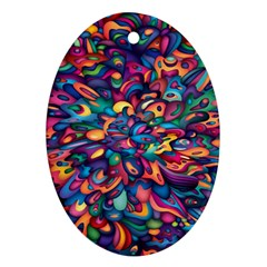 Moreau Rainbow Paint Oval Ornament (two Sides) by Mariart