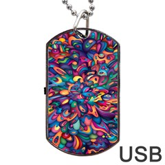 Moreau Rainbow Paint Dog Tag Usb Flash (one Side) by Mariart