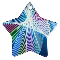 Light Means Net Pink Rainbow Waves Wave Chevron Green Blue Sky Ornament (star) by Mariart