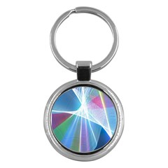 Light Means Net Pink Rainbow Waves Wave Chevron Green Blue Sky Key Chains (round)  by Mariart