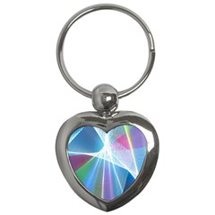 Light Means Net Pink Rainbow Waves Wave Chevron Green Blue Sky Key Chains (heart)  by Mariart