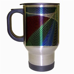 Light Means Net Pink Rainbow Waves Wave Chevron Green Blue Sky Travel Mug (silver Gray) by Mariart