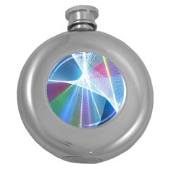 Light Means Net Pink Rainbow Waves Wave Chevron Green Blue Sky Round Hip Flask (5 Oz) by Mariart