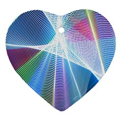 Light Means Net Pink Rainbow Waves Wave Chevron Green Blue Sky Heart Ornament (two Sides) by Mariart