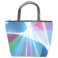 Light Means Net Pink Rainbow Waves Wave Chevron Green Blue Sky Bucket Bags