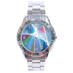 Light Means Net Pink Rainbow Waves Wave Chevron Green Blue Sky Stainless Steel Analogue Watch by Mariart