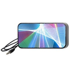 Light Means Net Pink Rainbow Waves Wave Chevron Green Blue Sky Portable Speaker (black) by Mariart