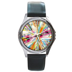 Illustration Material Collection Line Rainbow Polkadot Polka Round Metal Watch by Mariart