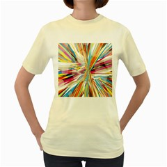 Illustration Material Collection Line Rainbow Polkadot Polka Women s Yellow T-Shirt