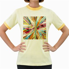 Illustration Material Collection Line Rainbow Polkadot Polka Women s Fitted Ringer T-Shirts