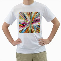 Illustration Material Collection Line Rainbow Polkadot Polka Men s T-Shirt (White) (Two Sided)
