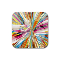 Illustration Material Collection Line Rainbow Polkadot Polka Rubber Coaster (Square)
