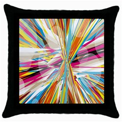 Illustration Material Collection Line Rainbow Polkadot Polka Throw Pillow Case (Black)