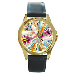 Illustration Material Collection Line Rainbow Polkadot Polka Round Gold Metal Watch