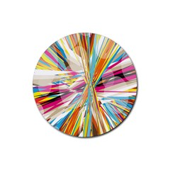Illustration Material Collection Line Rainbow Polkadot Polka Rubber Round Coaster (4 pack)