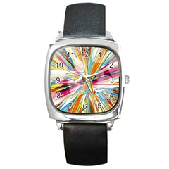Illustration Material Collection Line Rainbow Polkadot Polka Square Metal Watch