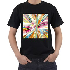 Illustration Material Collection Line Rainbow Polkadot Polka Men s T-Shirt (Black) (Two Sided)