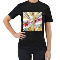 Illustration Material Collection Line Rainbow Polkadot Polka Women s T-Shirt (Black) (Two Sided)