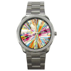 Illustration Material Collection Line Rainbow Polkadot Polka Sport Metal Watch