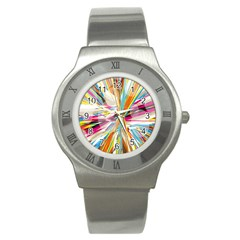 Illustration Material Collection Line Rainbow Polkadot Polka Stainless Steel Watch