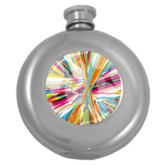 Illustration Material Collection Line Rainbow Polkadot Polka Round Hip Flask (5 oz)