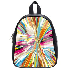 Illustration Material Collection Line Rainbow Polkadot Polka School Bags (Small)