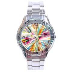 Illustration Material Collection Line Rainbow Polkadot Polka Stainless Steel Analogue Watch