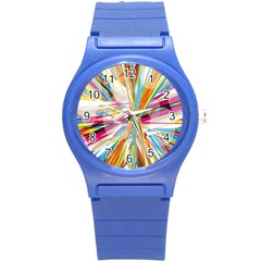 Illustration Material Collection Line Rainbow Polkadot Polka Round Plastic Sport Watch (S)