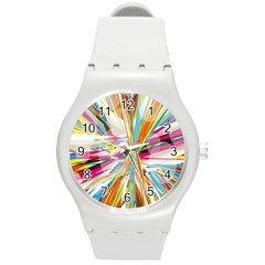 Illustration Material Collection Line Rainbow Polkadot Polka Round Plastic Sport Watch (M)