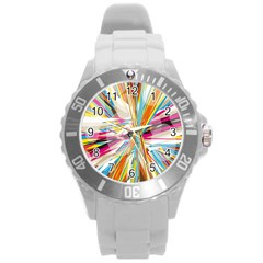 Illustration Material Collection Line Rainbow Polkadot Polka Round Plastic Sport Watch (L)