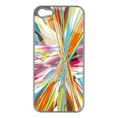 Illustration Material Collection Line Rainbow Polkadot Polka Apple iPhone 5 Case (Silver)