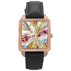 Illustration Material Collection Line Rainbow Polkadot Polka Rose Gold Leather Watch