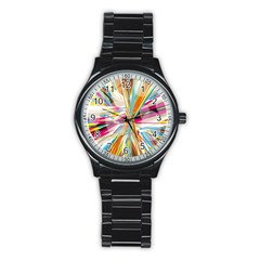 Illustration Material Collection Line Rainbow Polkadot Polka Stainless Steel Round Watch