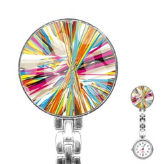 Illustration Material Collection Line Rainbow Polkadot Polka Stainless Steel Nurses Watch