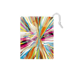 Illustration Material Collection Line Rainbow Polkadot Polka Drawstring Pouches (Small)