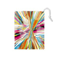 Illustration Material Collection Line Rainbow Polkadot Polka Drawstring Pouches (Medium)