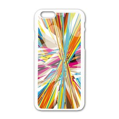 Illustration Material Collection Line Rainbow Polkadot Polka Apple iPhone 6/6S White Enamel Case