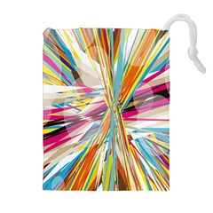Illustration Material Collection Line Rainbow Polkadot Polka Drawstring Pouches (Extra Large)