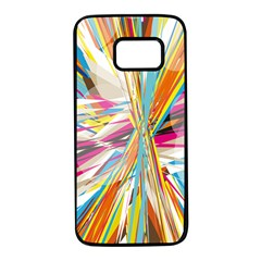 Illustration Material Collection Line Rainbow Polkadot Polka Samsung Galaxy S7 Black Seamless Case