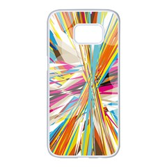 Illustration Material Collection Line Rainbow Polkadot Polka Samsung Galaxy S7 edge White Seamless Case