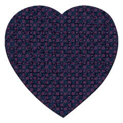 Purple Floral Seamless Pattern Flower Circle Star Jigsaw Puzzle (heart) by Mariart