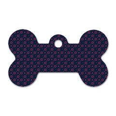 Purple Floral Seamless Pattern Flower Circle Star Dog Tag Bone (two Sides) by Mariart