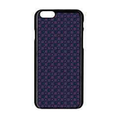 Purple Floral Seamless Pattern Flower Circle Star Apple Iphone 6/6s Black Enamel Case by Mariart