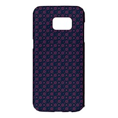 Purple Floral Seamless Pattern Flower Circle Star Samsung Galaxy S7 Edge Hardshell Case
