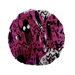 Octopus Colorful Cartoon Octopuses Pattern Black Pink Standard 15  Premium Round Cushions by Mariart