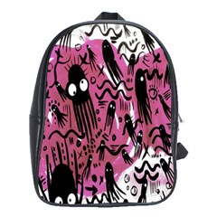 Octopus Colorful Cartoon Octopuses Pattern Black Pink School Bags (xl)  by Mariart