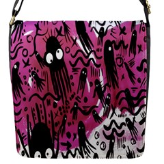 Octopus Colorful Cartoon Octopuses Pattern Black Pink Flap Messenger Bag (s) by Mariart