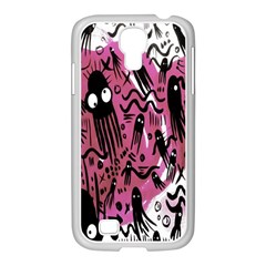 Octopus Colorful Cartoon Octopuses Pattern Black Pink Samsung Galaxy S4 I9500/ I9505 Case (white)