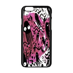 Octopus Colorful Cartoon Octopuses Pattern Black Pink Apple Iphone 6/6s Black Enamel Case by Mariart